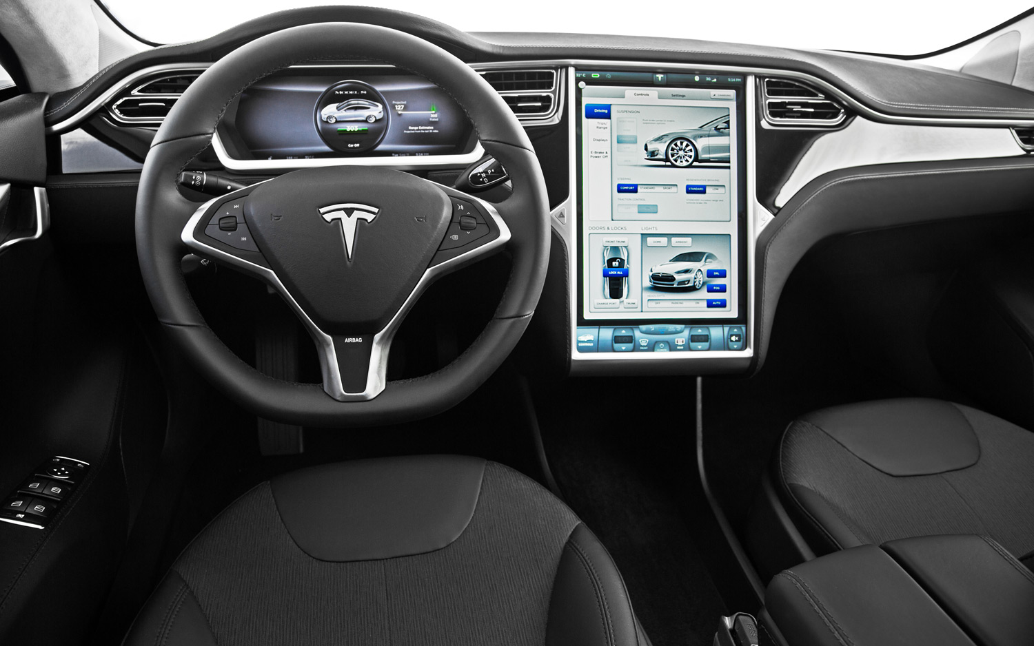 2013 Tesla Model S 60 Cockpit and Head Unit Interior