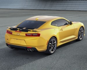 2016 Chevrolet Camaro Yellow Rally Stripes Rear Photo