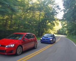 2015 Volkswagen GTI and 2015 Subaru WRX Exterior Preview
