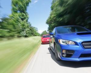 Front View 2015 Subaru WRX vs Volkswagen GTI 5-Doors